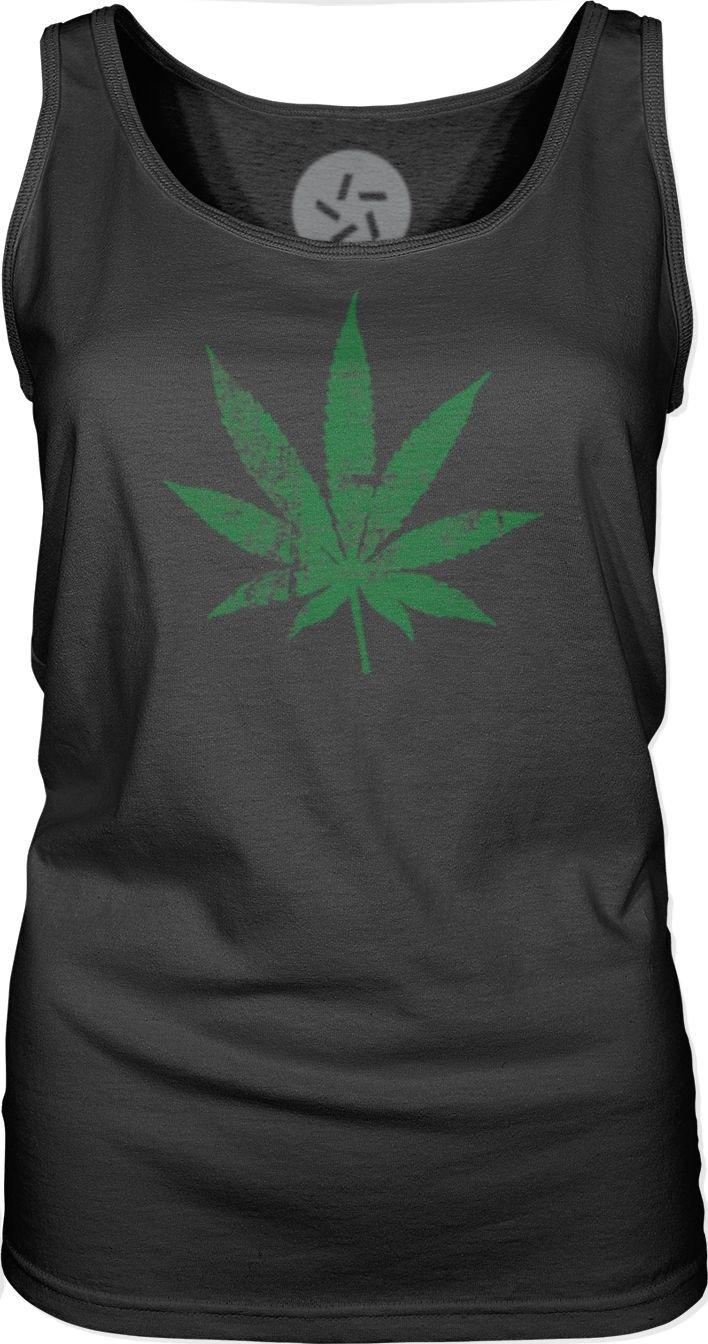 Big Texas Pot Leaf (Green) Womens Singlet Tank-Top T-Shirt
