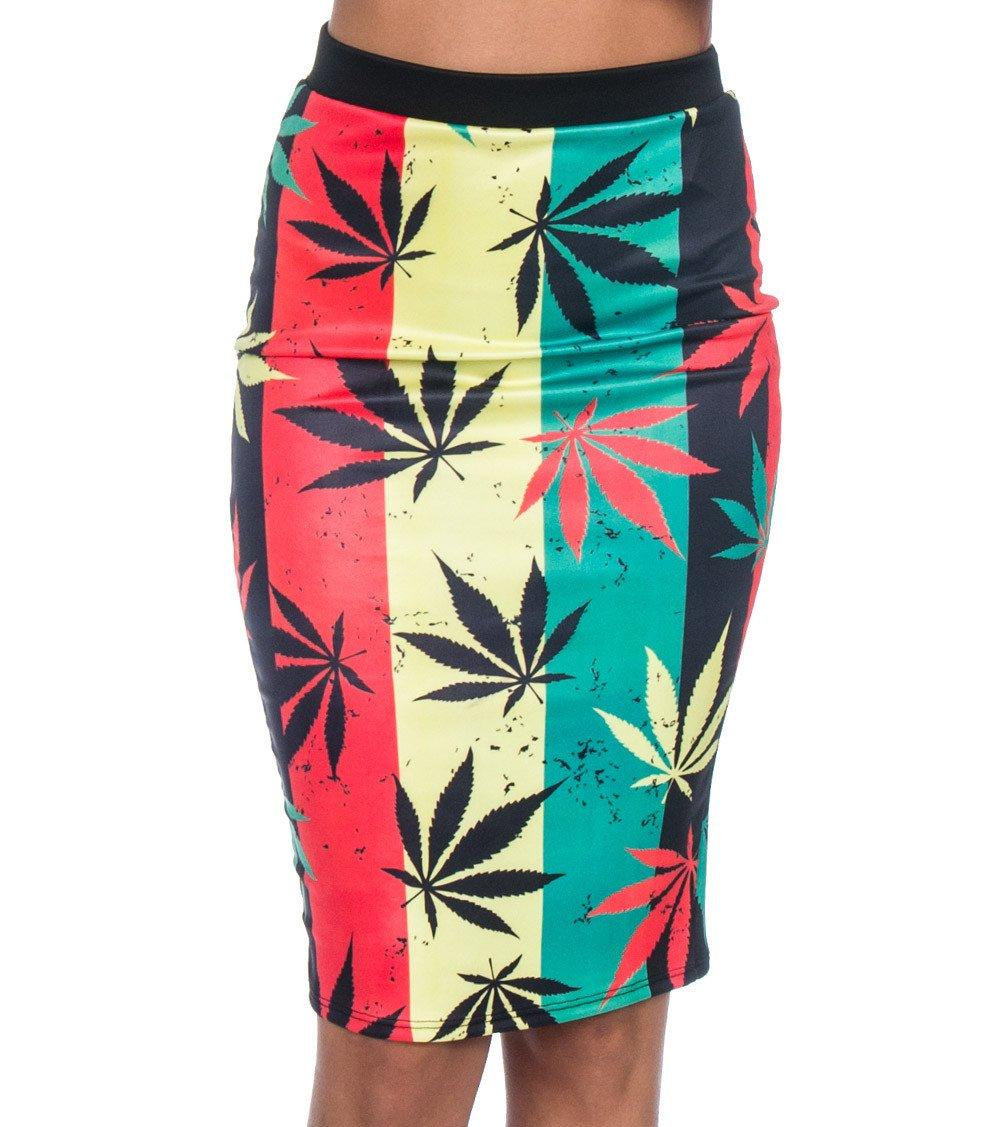 K Too Stripe Pot Print Stretch Knit Skirt Multi-Color L
