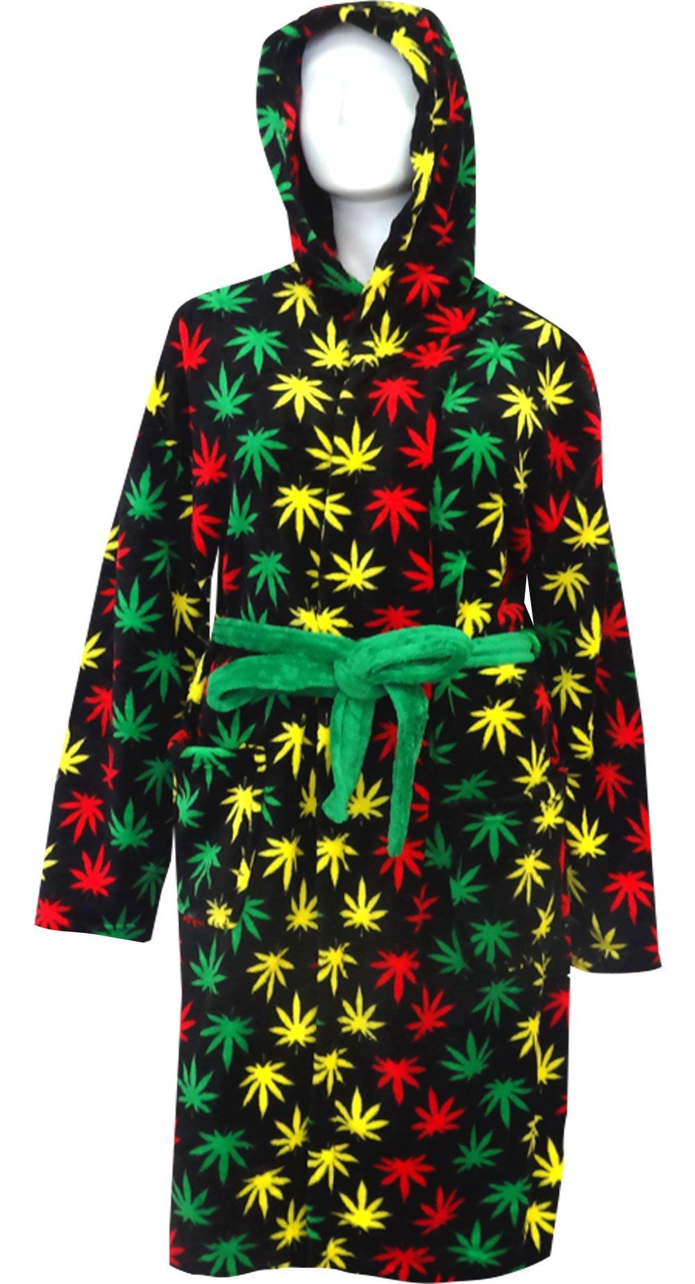 Rasta Themed Ganja Leaf Cozy Hooded Robe