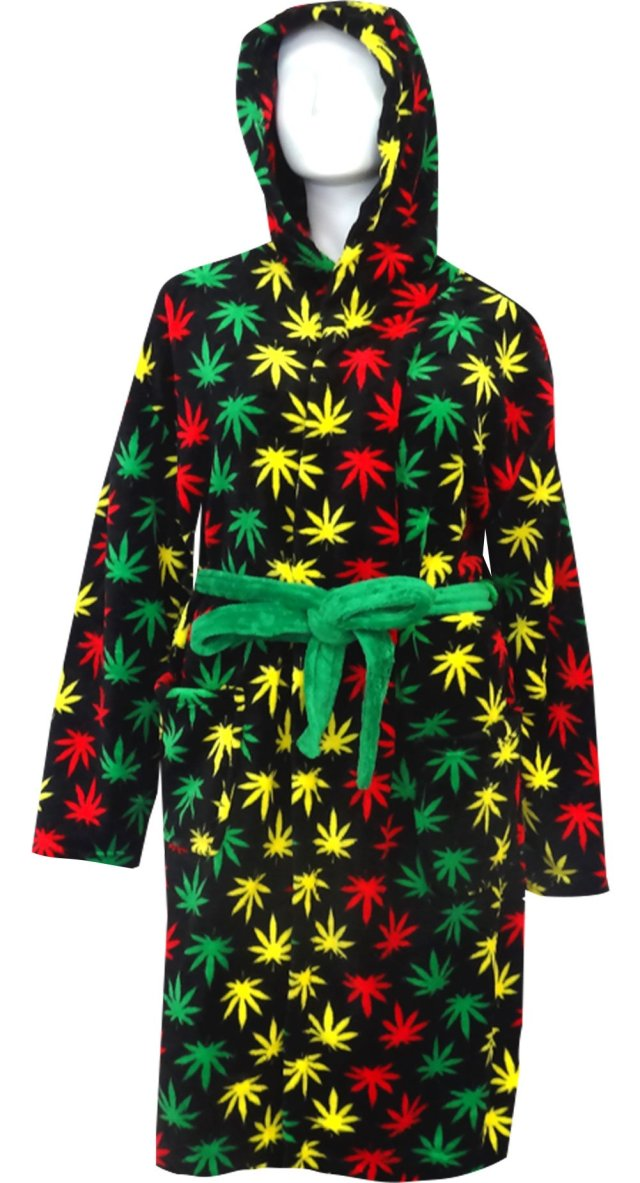 Rasta Themed Ganja Leaf Cozy Hooded Robe