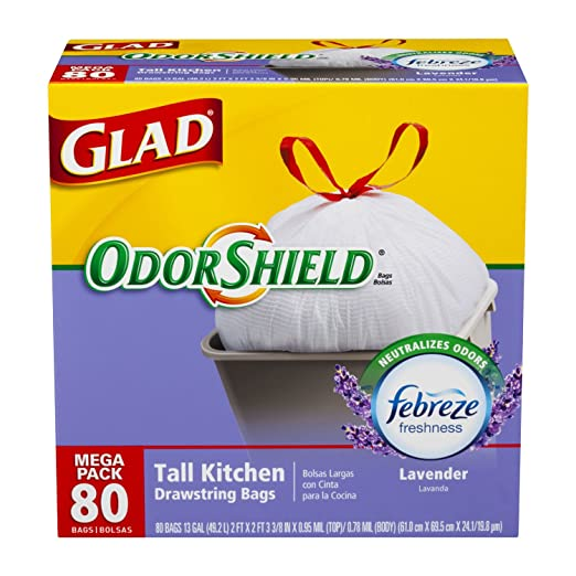 Glad OdorShield Tall Kitchen Drawstring Trash Bags, Lavender, 13 Gallon, 80 Count