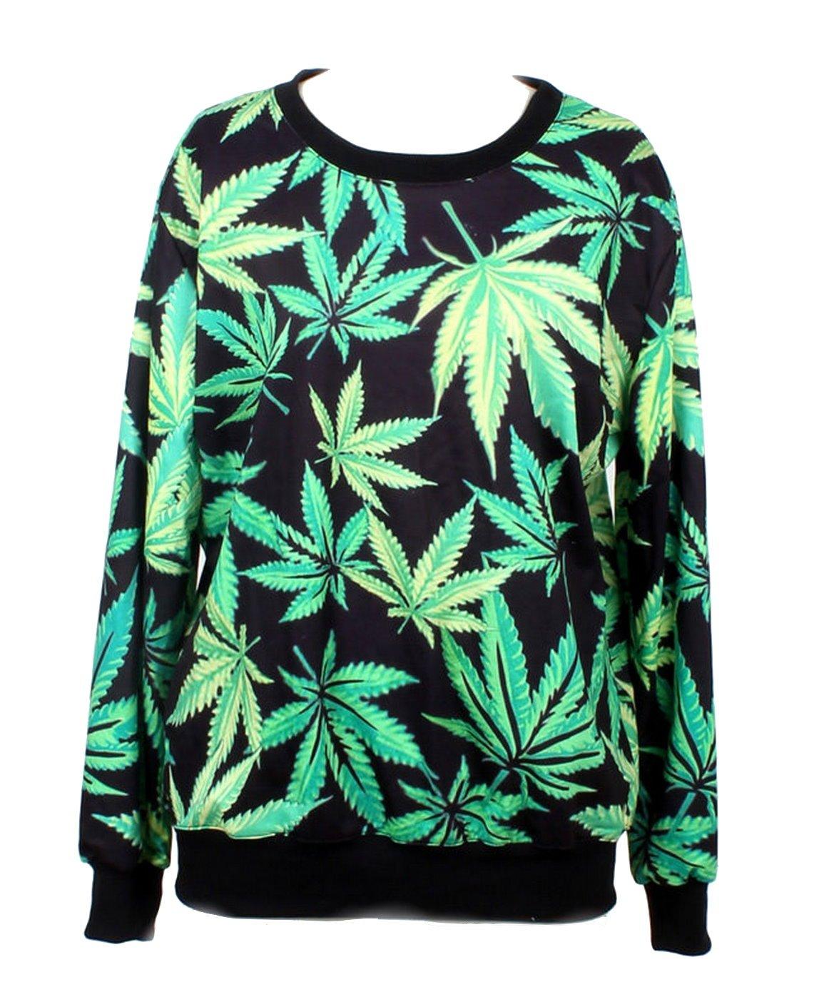 LoveLiness Fashion Sweatshirts Women's Neon Marijuana Leaf Print Sweatshirt