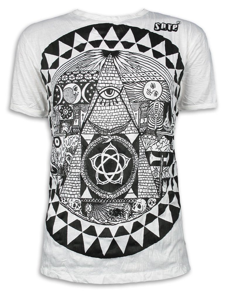 Vintage Men´s T-Shirt All seeing Eye Mandala Pyramid Goa Hippie
