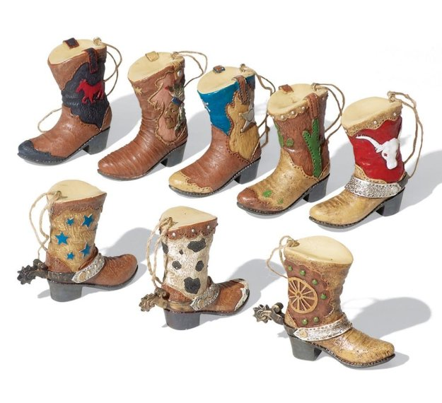 Set of Western Cowboy Boots Ornaments