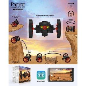 Esquema que muestra todos los saltos y giros que es capaz de realizar el Minidrone de Parrot Jumping Sumo así como el embalaje del producto y la aplicación FreeFlight 3