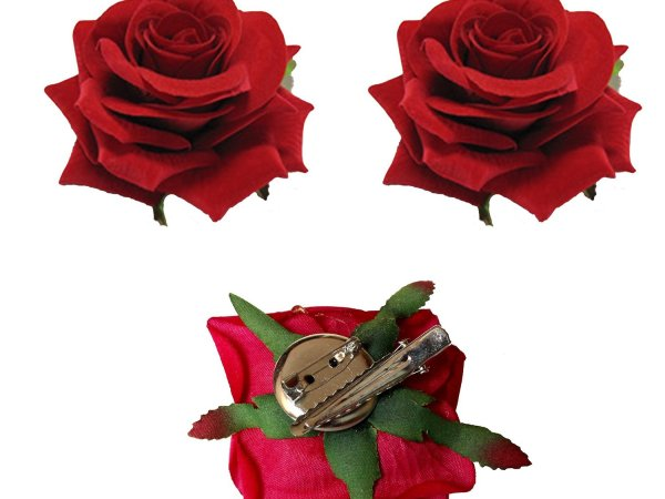 Homeoculture Red Rose Flower Hair Clip | Pack of 2 pieces