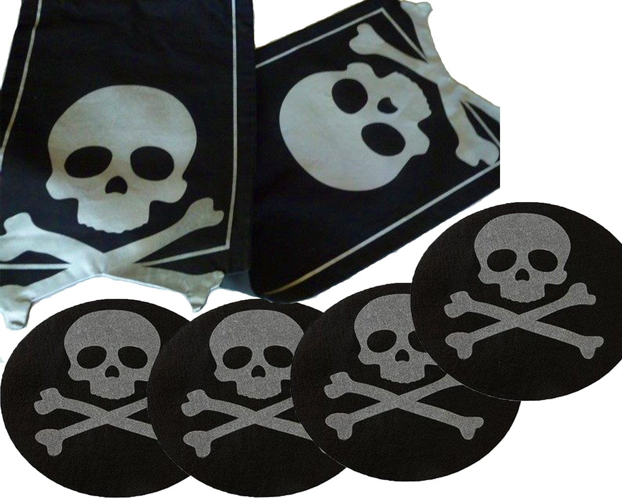 Halloween Skull & Crossbones Table Runner with Felt Round Placemats