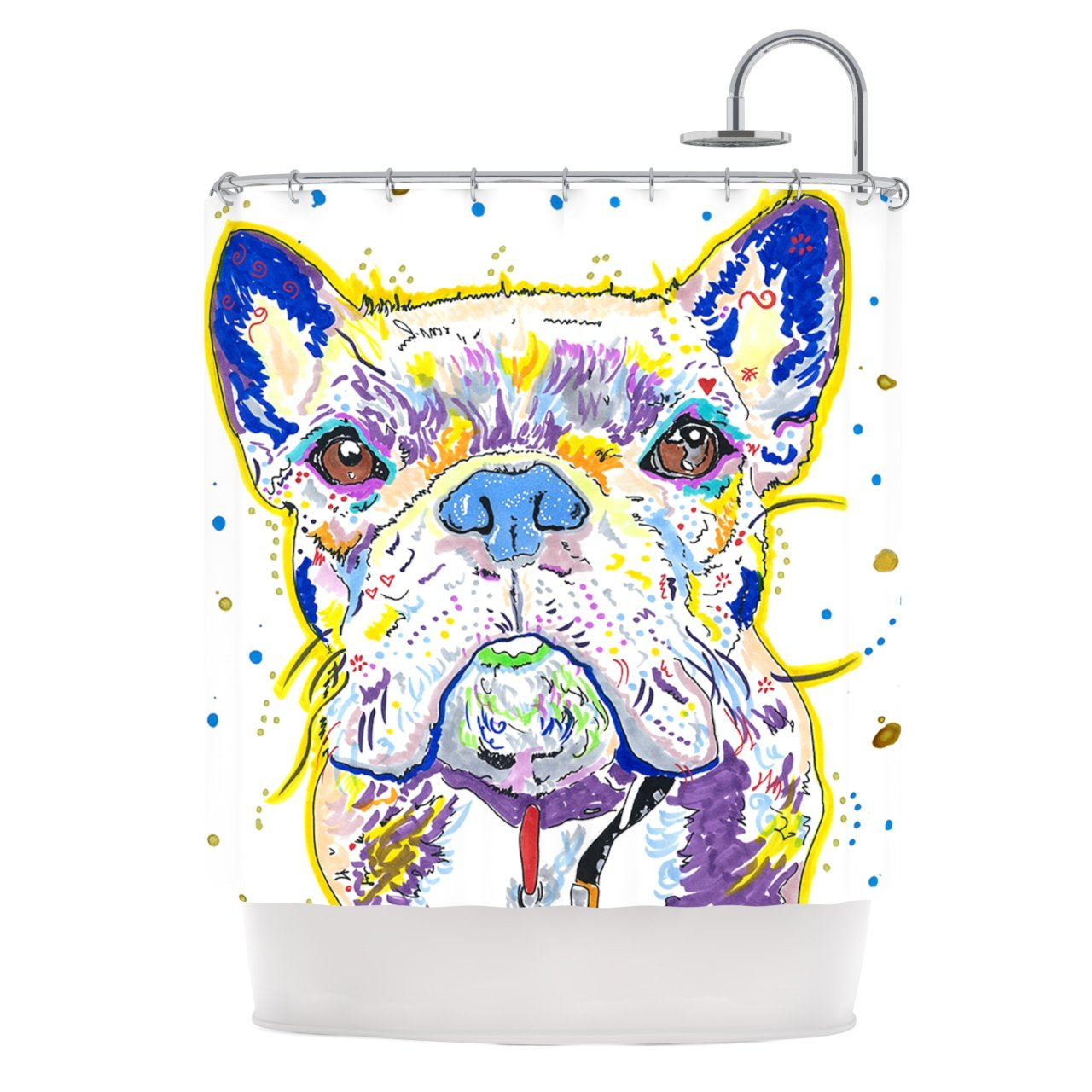 "Rebecca Fischer ""Niko"" French Bulldog Shower Curtain, 69 by 70-Inch"