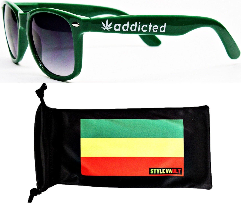P1000-rp Style Vault 80s Marijuana Weed Pot Leaf Sunglasses