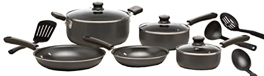 WearEver C957SC74 Admiration Nonstick Dishwasher Safe Cookware Set, 12-Piece, Gray