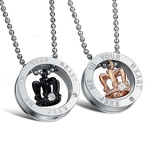 "Starista Jewellery Titanium Crown Pendant Necklace Matching Set for Couples Valentines Day Gifts for Him & Her Engraved ""Keep Me in Your Heart"" 21.5"""