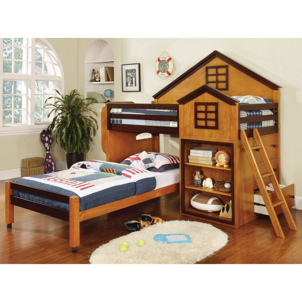 Furniture of America Parker House Design Twin Loft Bed with Storage, Brown, Wood, Twin Over Twin