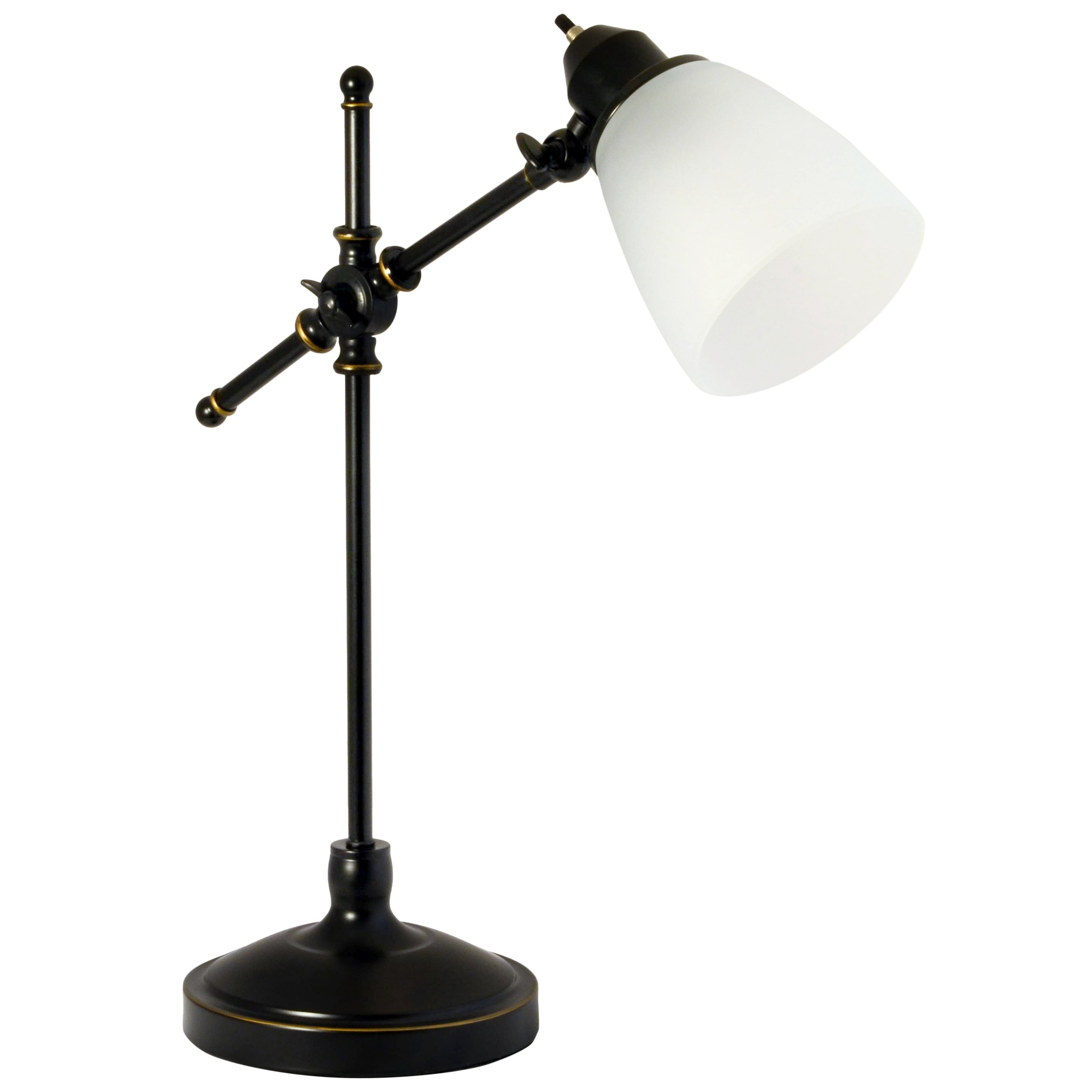 Light Accents Antique Style Desk Lamp With Black With Gold Trim And Frosted White Glass Shade