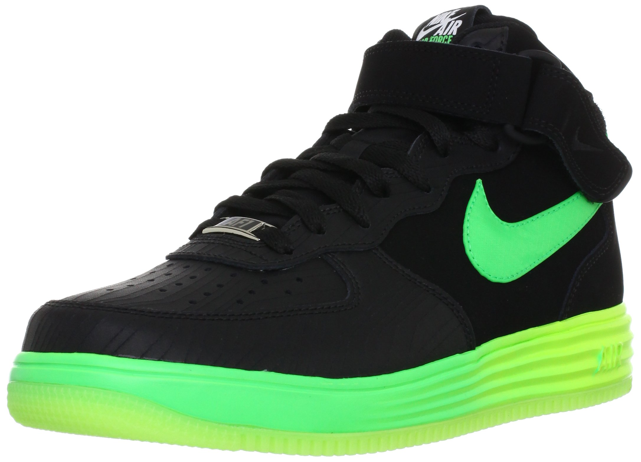 Nike Men's Lunar Force 1 Basketball Shoe Color: Black / Poison Green-Voltage