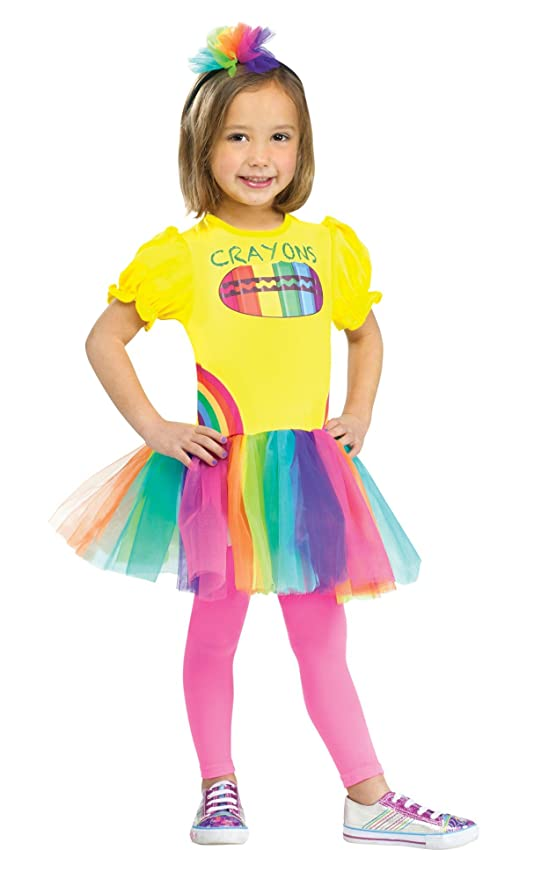Fun World Costumes Baby Girl's Color Me Cutie Crayon Box Toddler Costume, Yellow/Pink, Large