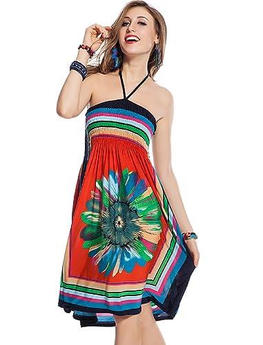 Ravki High Quality Women Girl Sunflower printed Beach Swim dress(R76466_MultiColor_Free Size)