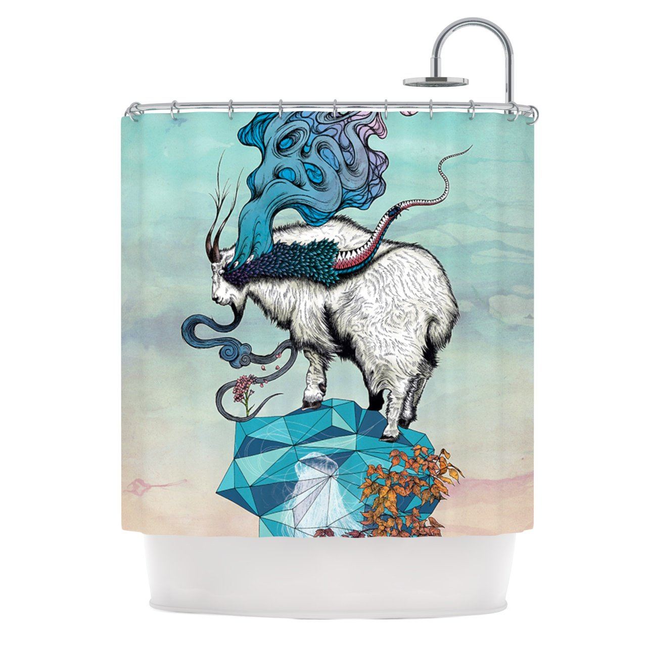 "Mat Miller ""Seeking New Heights"" Blue Goat Shower Curtain, 69 by 70-Inch"