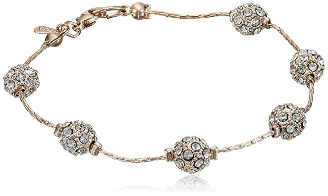 Rose-Tone Fireball Clear Crystal Beaded Link Bracelet, 7.5""