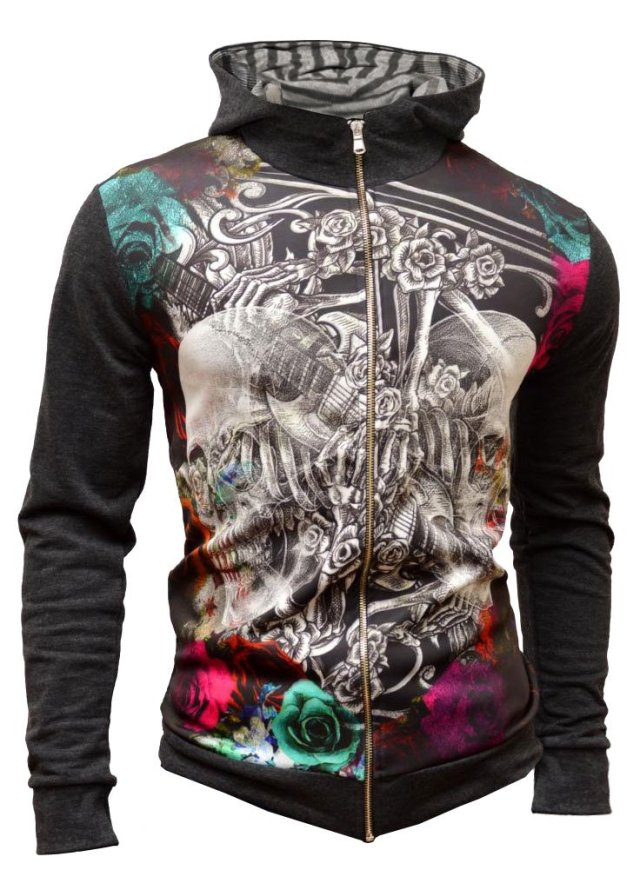 Cipo Baxx Hoodie Sweatshirt Cardigan Gothic Grim Skulls Colourful Party Concert