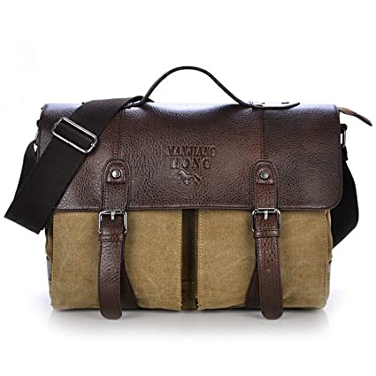 DesertWolf Premium Cotton Canvas Cross Body Laptop Messenger Bag - Men Business Vintage Handbag / Briefcase - Fit 14 Inch Laptop