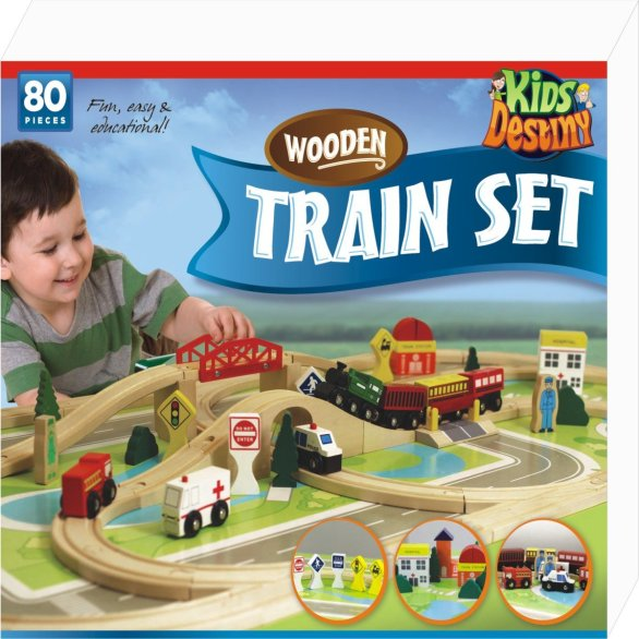 Wooden train set for toddlers