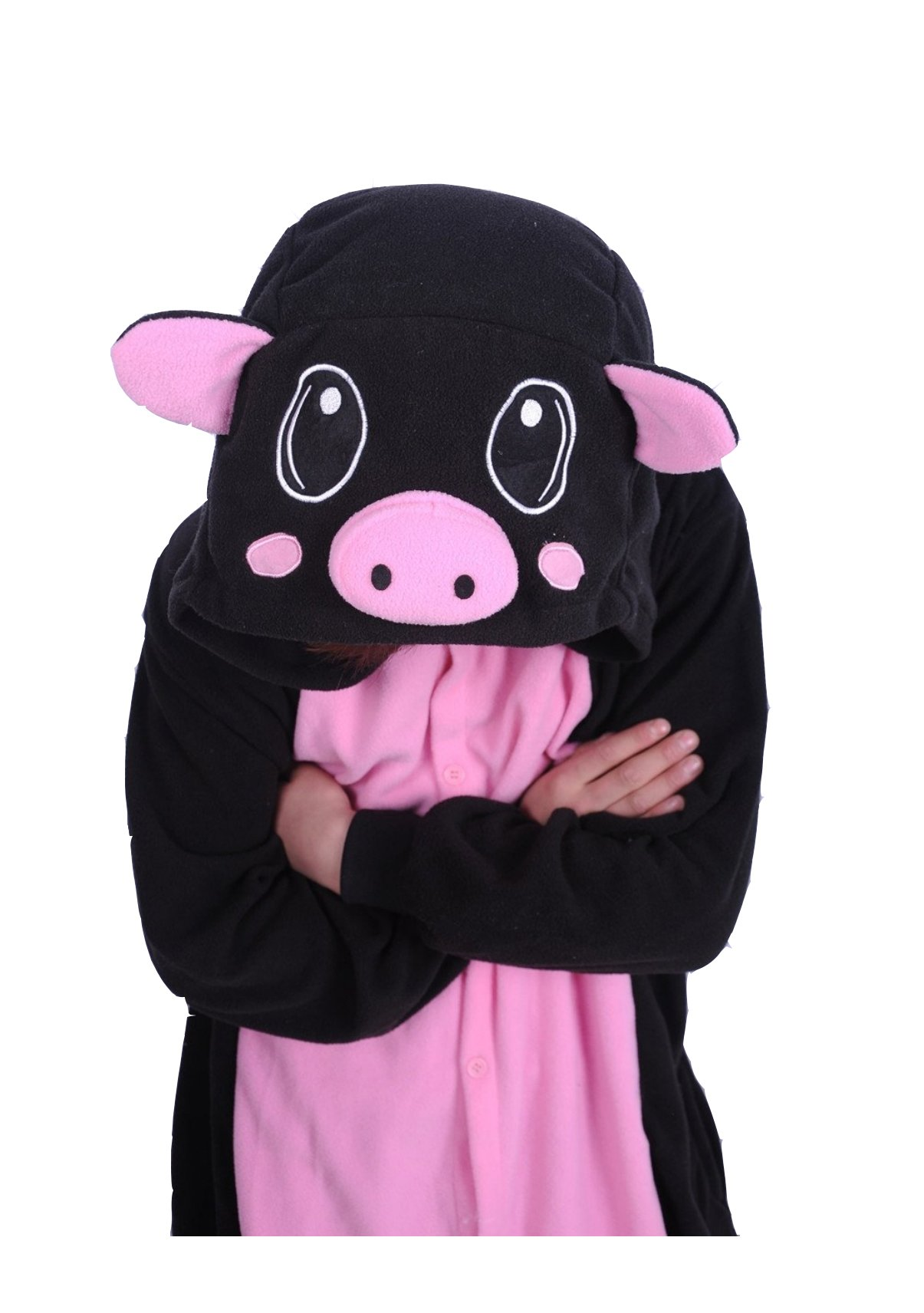 Adult Animal Lovely Black Pig Pajamas Sleepsuit Sleepwear Kigurumi