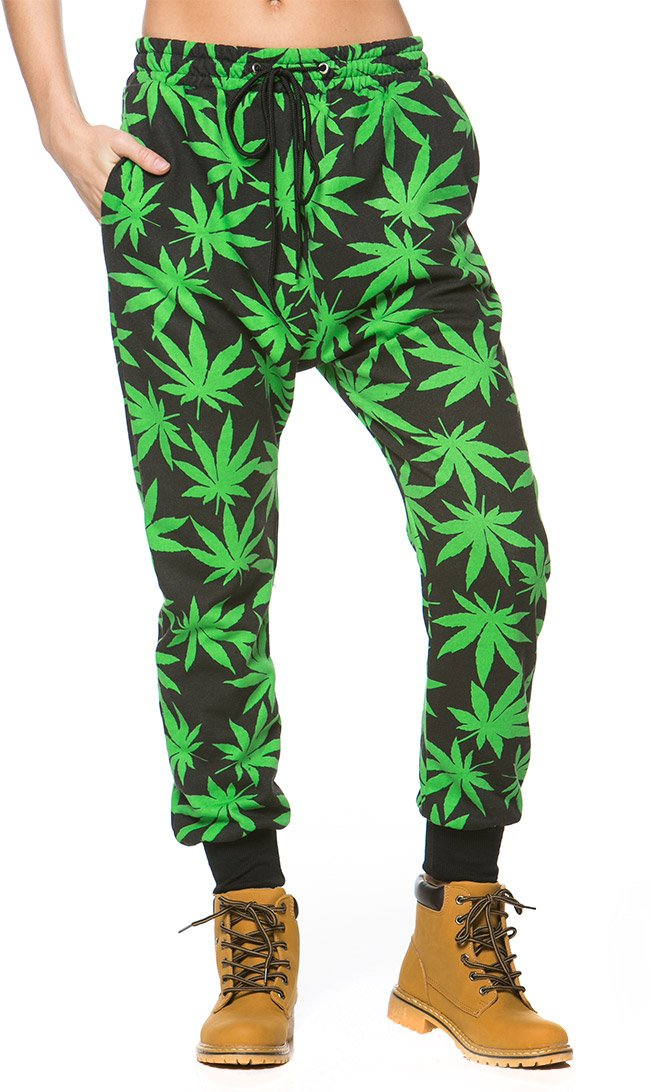 Weed Print Jogger Pants in Black