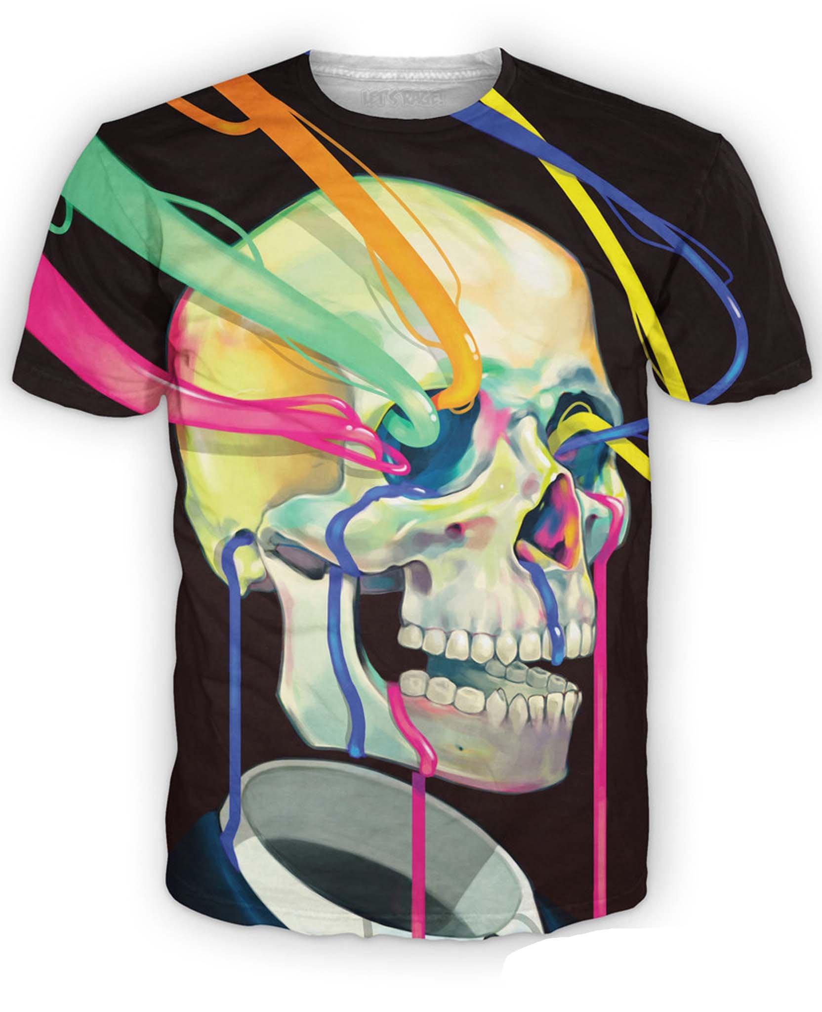 RageOn Men's Dorian Rainbow Color Skull T-Shirt