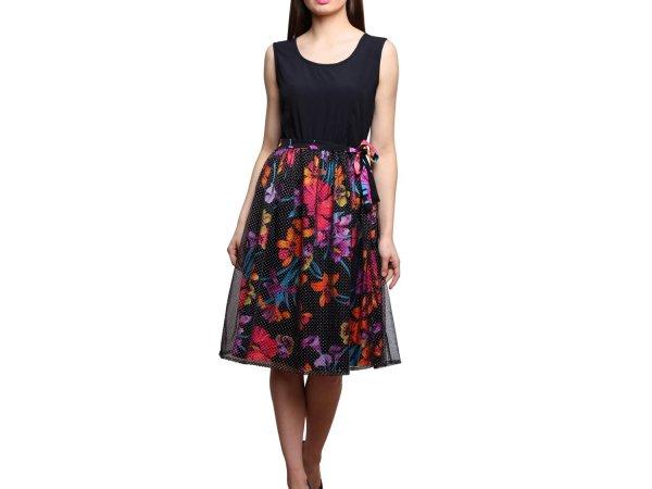Vastrasutra FLORAL Black Color Skater Dress