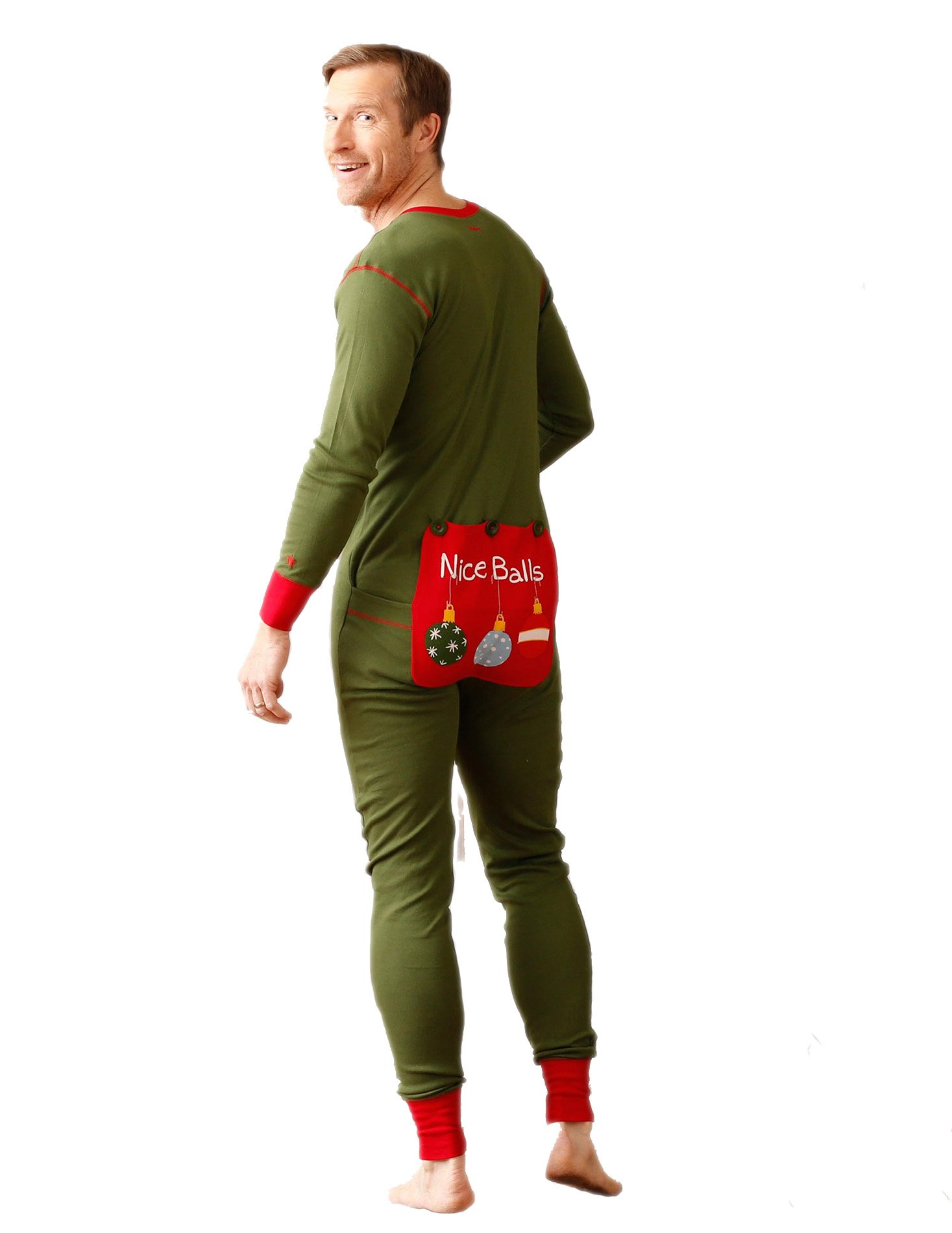 """Nice Balls"" Adult/Unisex Holiday Union Suit Christmas onesie pajama"