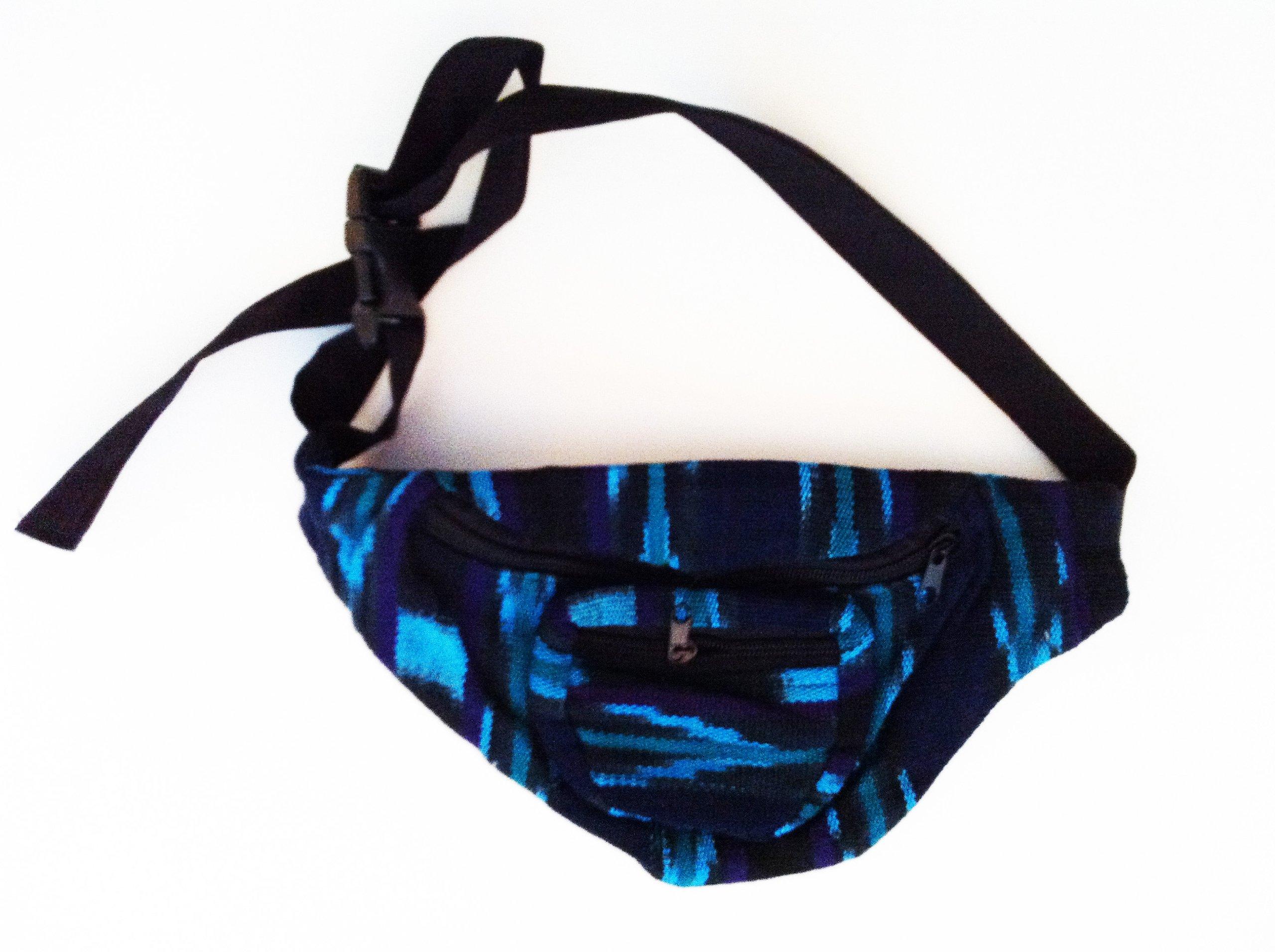 Blue Fabric Fanny Pack Handmade in Guatemala