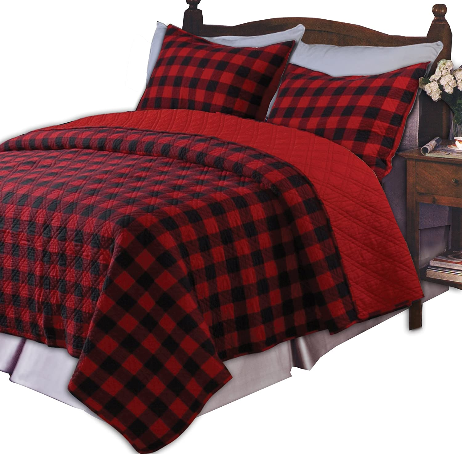 Red And Grey Plaid Bedding