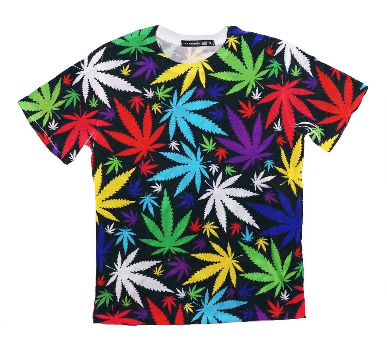 Men's Sublimation All Over Print T-Shirt Colorful Marijuana Leafs
