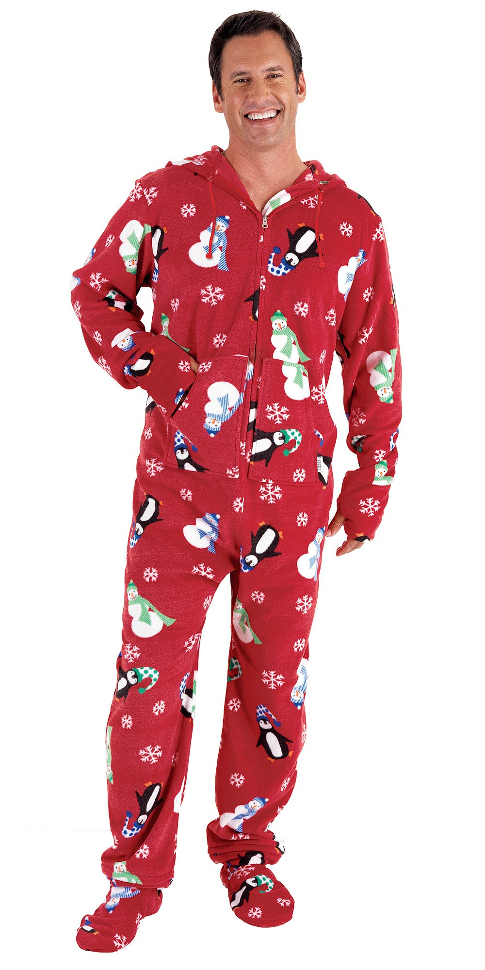 Holiday Hoodie Footie Footed Fleece Pajamas for Men Penguin Snowman Snowflake Onesie
