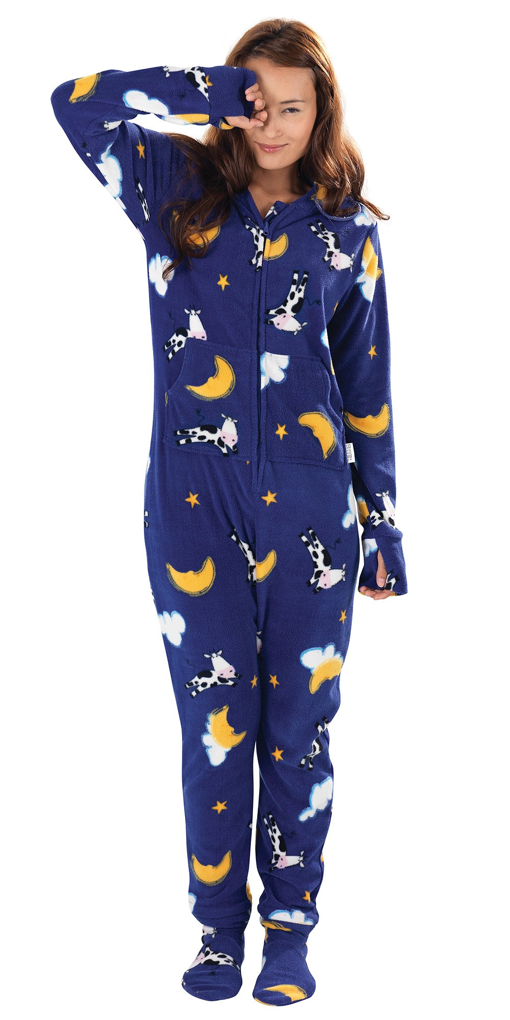 Blue Fleece Hooded Onsie Footed Pajamas for Women - Moons & Cows