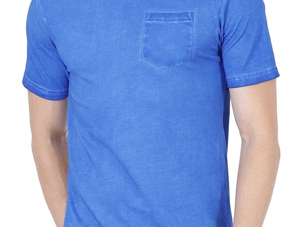 Fanideaz Cotton Stone Washed Royal Blue Half Sleeve tshirts for Men with Pocket