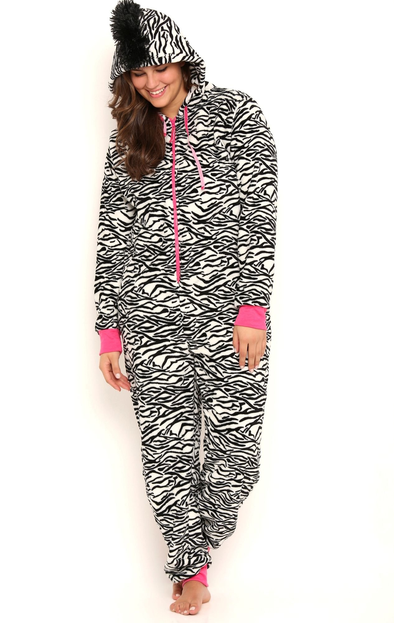 Deb Junior Plus Size zebra  Leopard Print Onesie pajamas with Ears