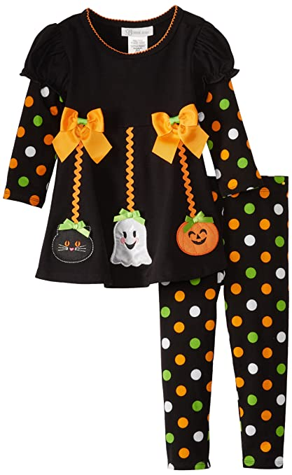 Bonnie Jean Girls 2-6X Halloween Applique Legging Set (5, Black)
