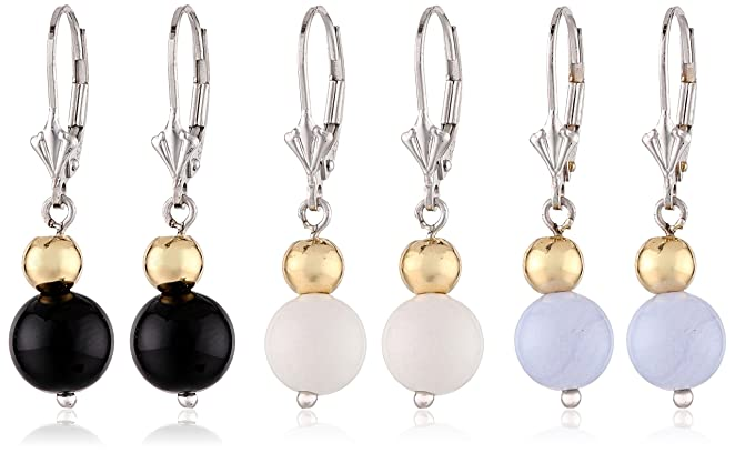 Sterling Silver Two-Tone Black, White and Blue Agate Three Piece Drop Earrings Jewelry Set