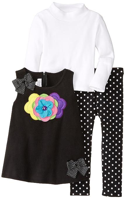 Bonnie Jean Little Girls' Fleece Flower Legging Set, Black, 2T