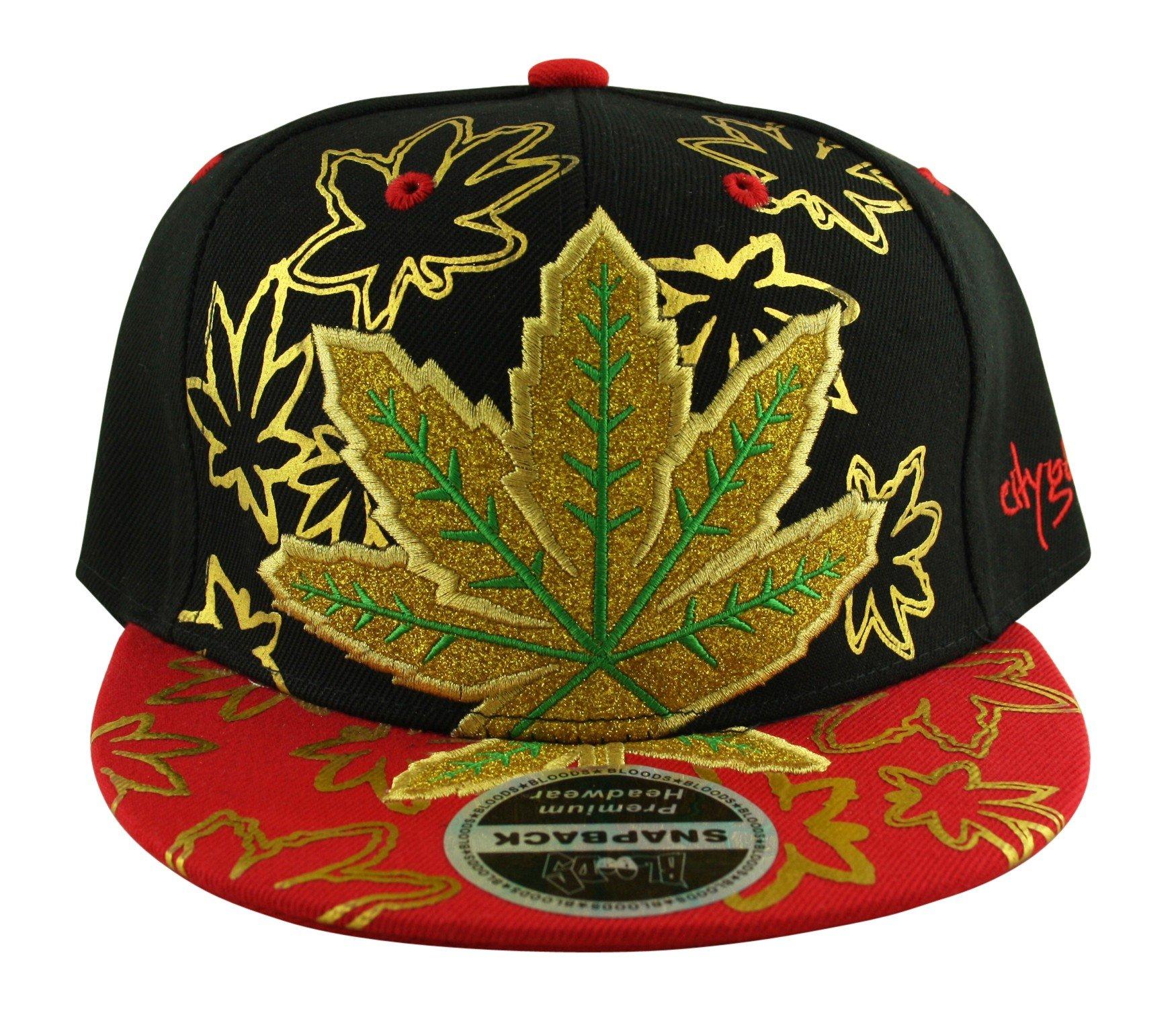 Men's 420 Ganja Leaf Weed Rasta Gold Embroided Snapback Flat Peak Baseball Cap
