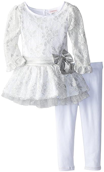 Youngland Little Girls' Lace Peplum Legging Set, Silver, 2T