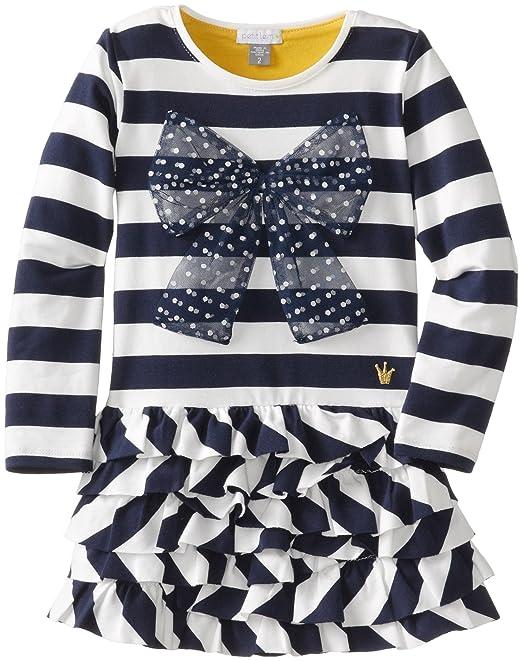 Petit Lem Little Girls' London Style Long Sleeve Dress Knit, Cream/Navy, 3