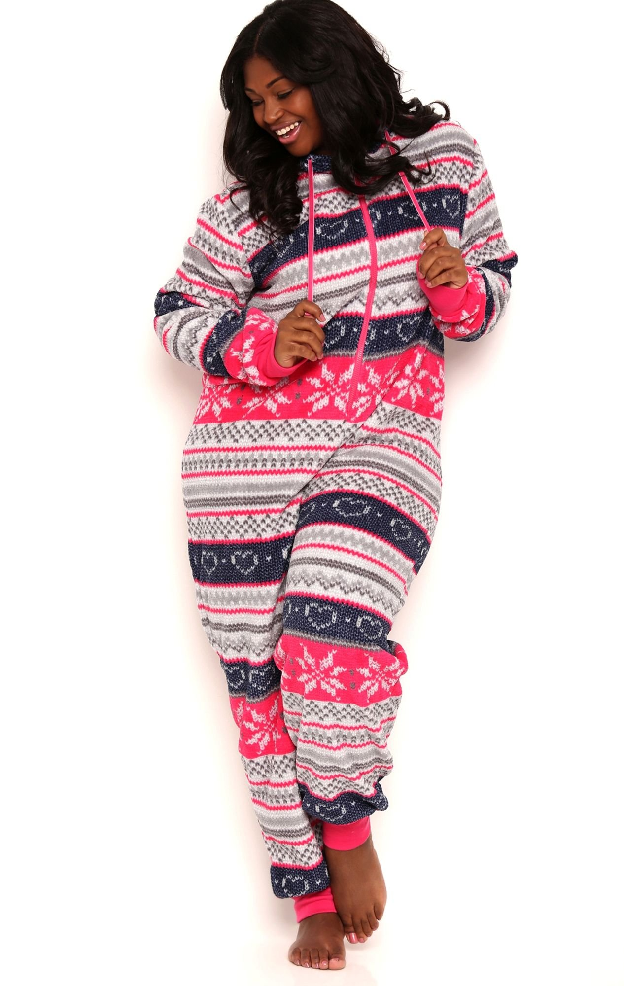 Plus Size Plush Onesie with Fair Isle Print and Hood Multi Color 1X2