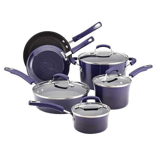 Rachael Ray Porcelain Enamel II Nonstick 10-Piece Cookware Set, Purple Gradient