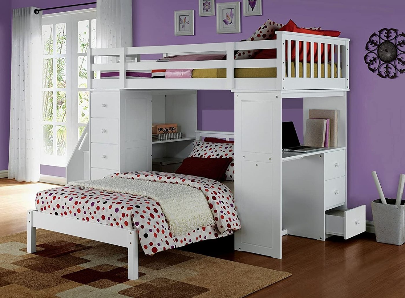 Acme Freya Loft Bed Set with Twin Bed in White