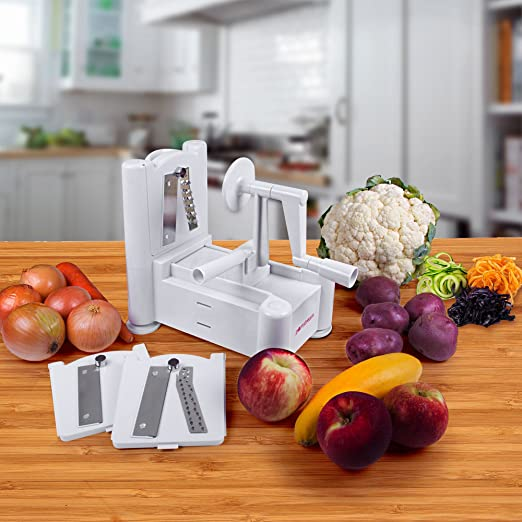 Spiral Cutter , PomStreamTM Ultimate Tri-Blade Vegetable and Fruit Peeler Spiral Cutter - Includes Three interchangeable blades for different vegetable designs - Create Healthy Gourmet Meals with Zero Risk.