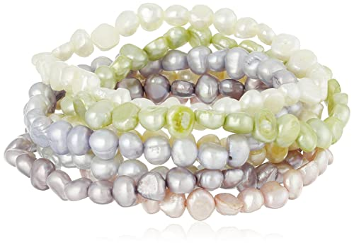 Dyed Pastel Colors Freshwater Cultured Pearl Stretch Bracelet, Set of Seven