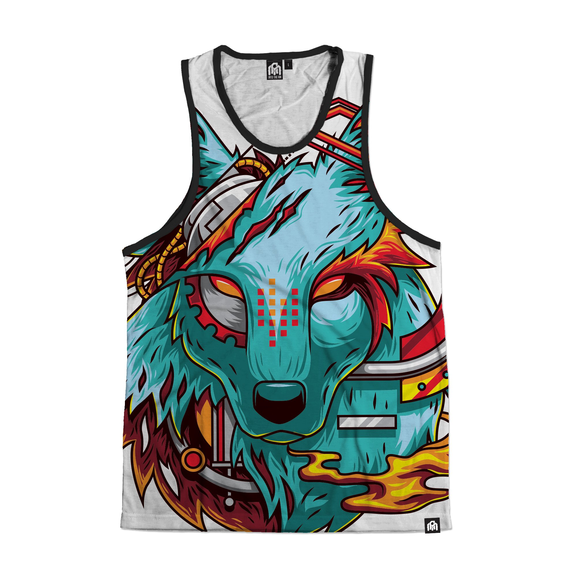 INTO THE AM Digital Wolf All Over Print Rave Tank