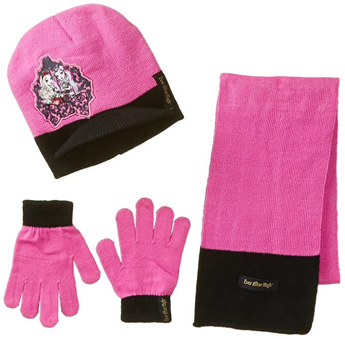 Berkshire Girl's 3 Piece Ever After High Brimmed Beanie Glove and Scarf Set, Multi, One Size